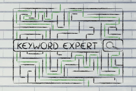 to keyword: search bar surrounded by a maze, with tags to look for a keyword expert