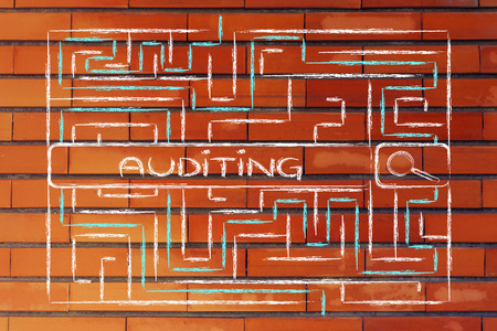 auditing: search bar surrounded by a maze, with tag about auditing Stock Photo