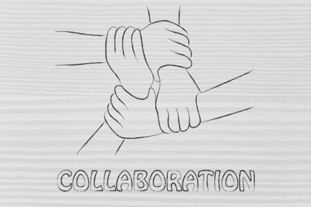 workforce: team work and workforce, hands holding each other Stock Photo