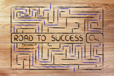 difficult to find: search bar surrounded by a maze, with tags about the road to success