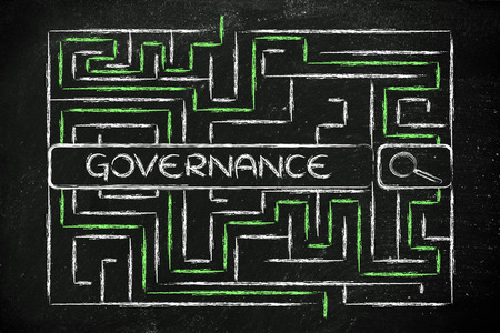 difficult mission: search bar surrounded by a maze, with tags about business governance