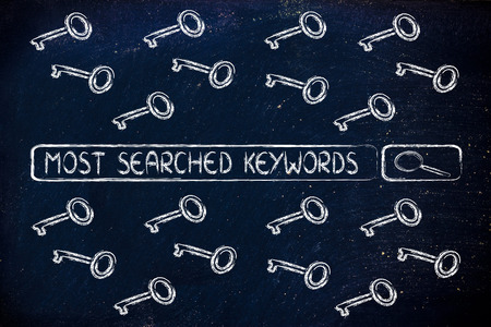 keywords: search bar with funny keys, researching about the best keywords trends Stock Photo