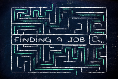 search bar surrounded by a maze, with tags about finding a job