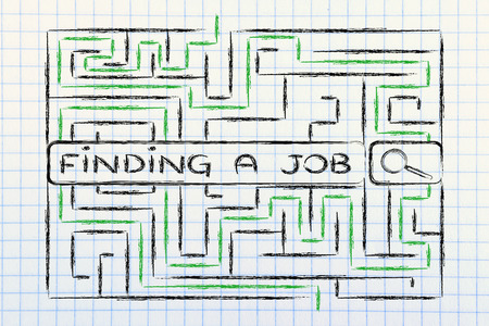 finding a job: search bar surrounded by a maze, with tags about finding a job