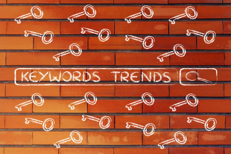 tagging: search bar with funny keys, researching about the best keywords trends Stock Photo