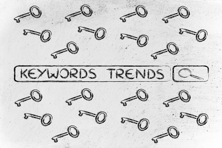 metadata: search bar with funny keys, researching about the best keywords trends Stock Photo