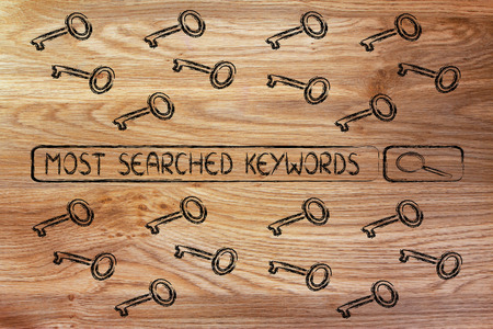 search bar with funny keys, researching about the best keywords trends Stock Photo