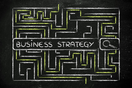 difficult mission: search bar surrounded by a maze, with tags about business strategy Stock Photo