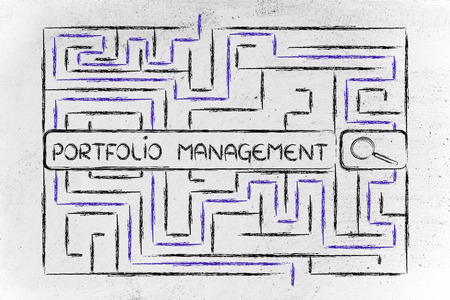 difficult to find: search bar surrounded by a maze, with tags about portfolio management