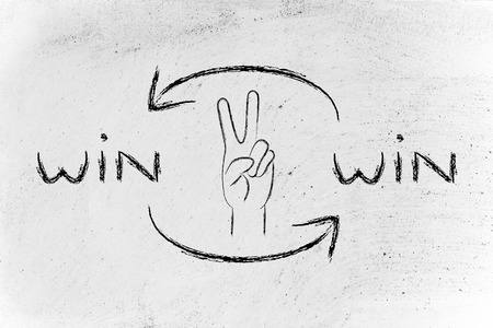 winning proposal: concept of Win Win solutions, hand making the V for Victory sign Stock Photo