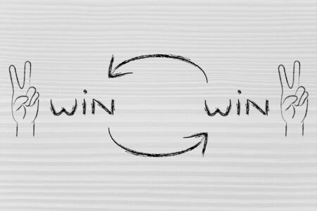 winning proposal: concept of Win Win solutions, hands making the V for Victory sign