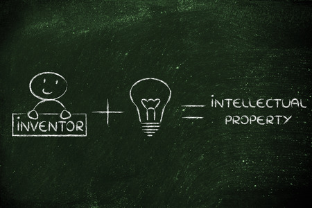 uitvinder: uitvinder plus een goed idee is gelijk aan intellectueel eigendom formule Stockfoto