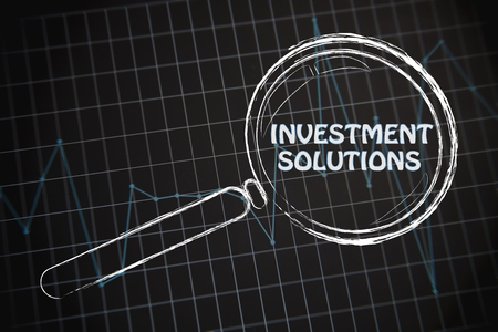 investment solutions: corporate performance or market rate graph with magnifying glass, concept of investment solutions