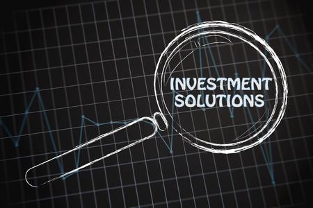 investment solutions: rendimiento corporativo o gr�fico tipo de mercado con lupa, el concepto de soluciones de inversi�n