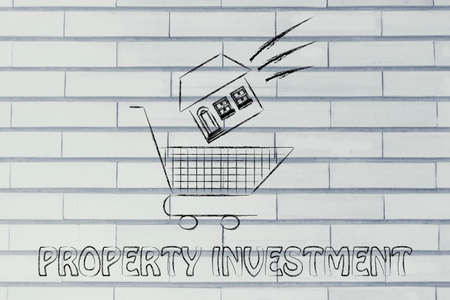 property investment: house launched inside shopping cart, concept of property investment