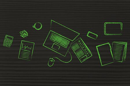 productive: be organized and productive: desk with office work objects Stock Photo