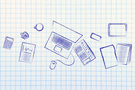 organized: be organized and productive: desk with office work objects Stock Photo