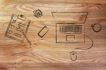 productive: productive work: laptop, phone, coffee and list of task on a desk