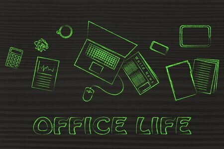 organized: organized and productive office life: desk with work objects
