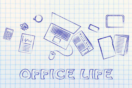 productive: organized and productive office life: desk with work objects
