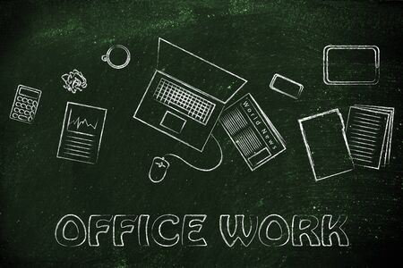 productive: organized and productive office work: desk with business objects