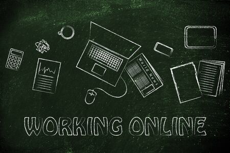 when: be organized and productive when working online: desk with objects Stock Photo