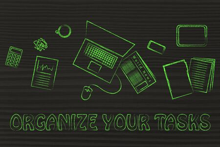 tasks: organize your tasks: desk with office work objects