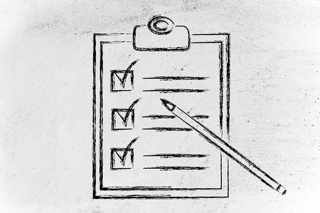 completed To Do list with tasks ticked off Stock Photo