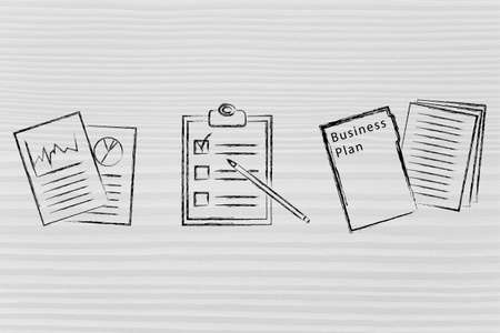 the list plan: flat illustration with business plan, documents, to do list and stats Stock Photo