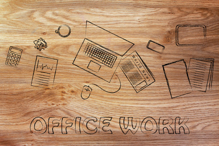 organized: organized and productive office work: desk with business objects