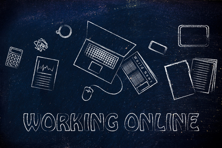 productive: be organized and productive when working online: desk with objects Stock Photo