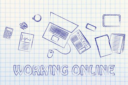 be organized and productive when working online: desk with objects Stock Photo