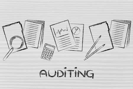 corporate auditing: illustration with folders, stats and documents