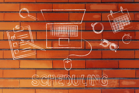 scheduling: the importance of scheduling: laptop, calendar, stopwatch and to do list Stock Photo