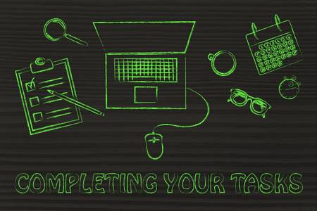 completing: organizing and completing your tasts: laptop, calendar, stopwatch and to do list