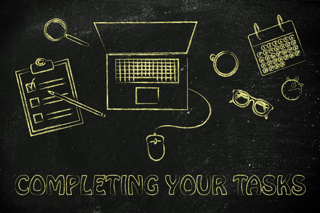 completing: completing your tasks: laptop, calendar, stopwatch and to do list Stock Photo