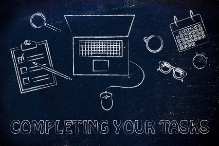 completing: Completing your tasks: laptop, calendar, stopwatch and to do list