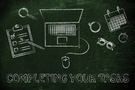 tasks: completing your tasks: laptop, calendar, stopwatch and to do list Stock Photo