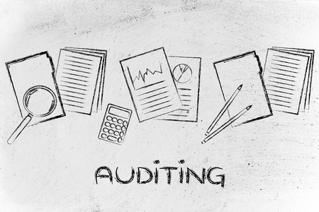 auditing: corporate auditing: illustration with folders, stats and documents