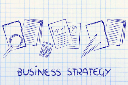perfomance: business strategy: folders, perfomance stats and budget documents Stock Photo