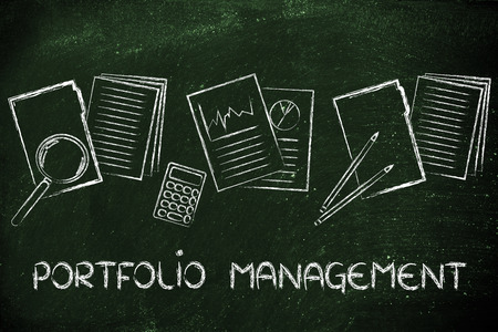 perfomance: portfolio management: business papers, perfomance stats and budget documents Stock Photo