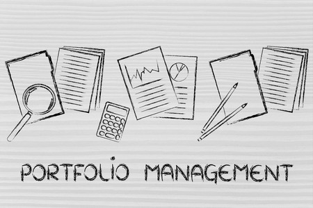 portfolio management: business papers, performance stats and budget documents