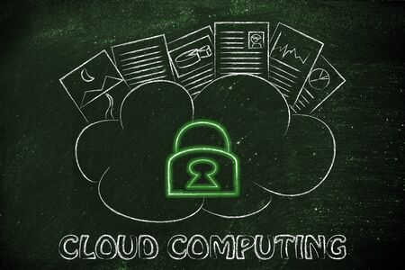 funny representation of cloud computing, uploaded documents on a loud with glowing safety lock