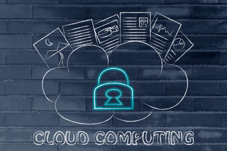uploaded: funny representation of cloud computing, uploaded documents on a loud with glowing safety lock