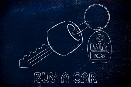 keyless: car keys with remote, concept of renting or buying a new car