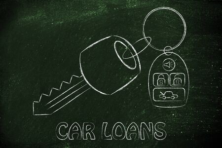 car loans: car keys with remote, concept of car loans
