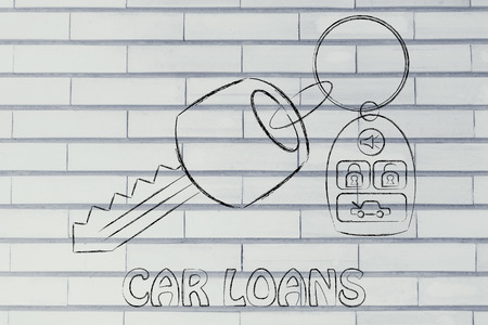 loans: car keys with remote, concept of car loans