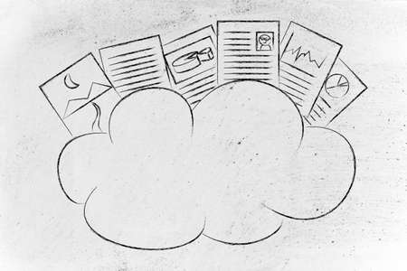 documents: funny representation of cloud computing, uploaded documents above a cloud