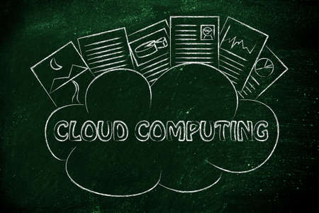 uploaded: funny representation of cloud computing, uploaded documents above a cloud