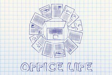 organizing: organizing and scheduling your tasks: laptop and a multitude of documents